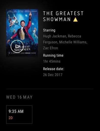 The Greatest Showman cinema